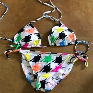 Split multicolor bathing suit with Swarovski